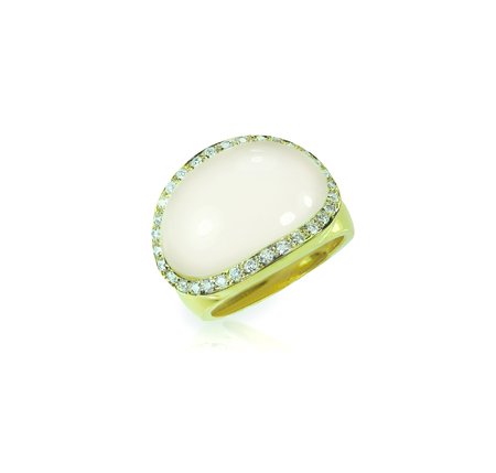 opal: White moonstone cobochon ring isolated on white with a reflection
