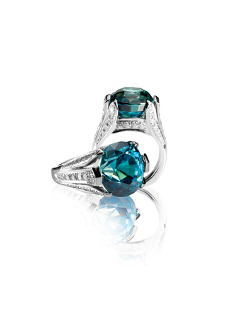 zafiro: Zafiro y anillo de bodas de diamante conjunto