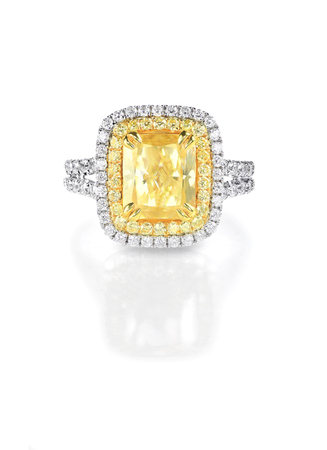 gems: Yellow Canary Diamond Large Engagment Ring in Halo Setting, emerald cushion cut stone with a double halo of diamonds on the side