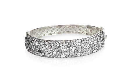 platinum: Crystal Diamond Wide Bangle braceket isolated on white Stock Photo