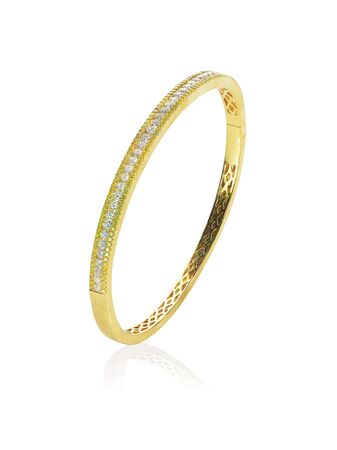 bangle: Upstanding yellow gold diamond bracelet isolated on white with a reflection