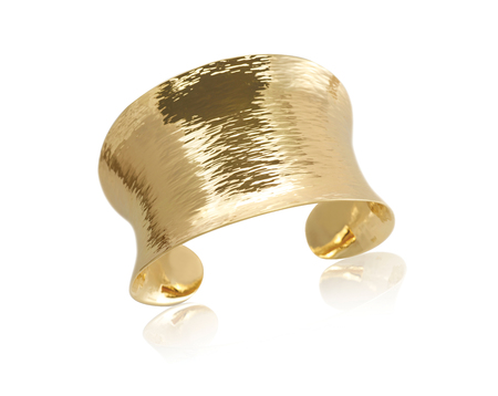 cuffs: Gold Metal Cuff Bracelet isolated on white Stock Photo