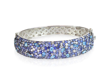 bangle: Blue Sapphire diamond bangle bracelet isolated on white Stock Photo