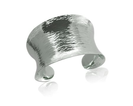 cuff: Silver Metal Cuff Bracelet isolated on white Stock Photo