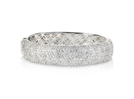 bangle: Wide diamond crystal Bangle Bracelet isolated on white Stock Photo