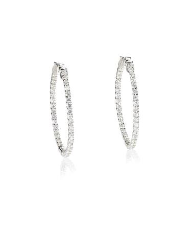 elaborate: Diamond hoop dangle pave elaborate bridal earrings isolated on white Stock Photo