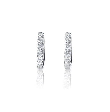 dangle: Diamond hoop dangle pave elaborate bridal earrings isolated on white Stock Photo