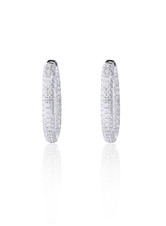 earrings: Pave Diamond Hoop Earrings isolated on white with a reflection