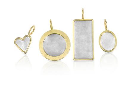 personalised: Golden Silver blank customizable trinket pendants