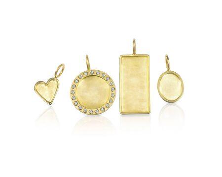 pendants: Golden Silver blank customizable trinket pendants
