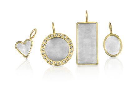 customizable: Golden Silver blank customizable trinket pendants
