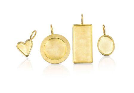 customizable: Golden blank customizable trinket pendants