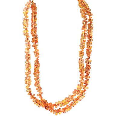 Beaded Gemstone Necklace isolated on white Фото со стока