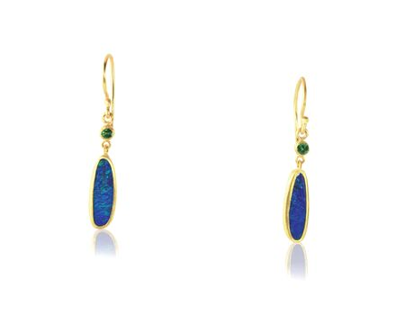 opal: Blue Opal Drop Earrings isolated on white Stock Photo