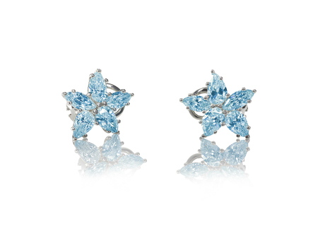 gems: Blue Diamond stud earrings isolated on white Stock Photo