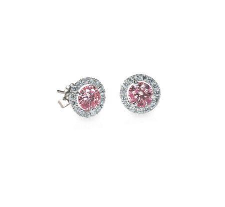 Pink Diamond Stud earrings pair isolated on white