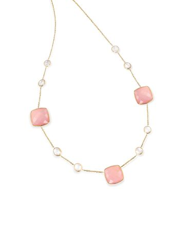 diamond necklace: Pink Gemstone diamond necklace with chain isolated on white Stock Photo