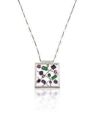 pageant: Multiple Gemstone Pendant Necklace isolated on white Stock Photo