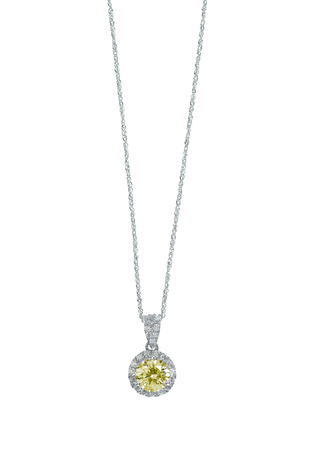 Yellow Diamond Citrine Topaz pendant necklace isolated on white