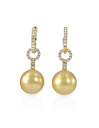 dangle: Yellow pearl and diamond earrings pair isolated on white Stock Photo