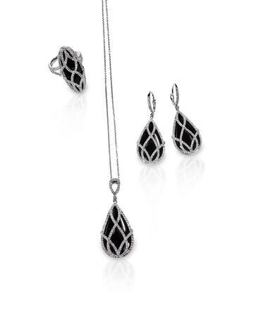 onyx: Group of diamond black onyx jewelry Stock Photo