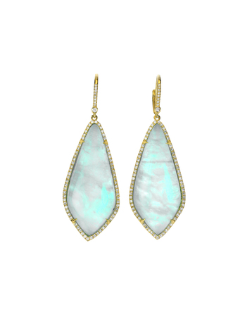 Opal gemstone and diamond earrings isolated on white