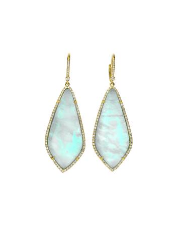 diamond earrings: Opal gemstone and diamond earrings isolated on white