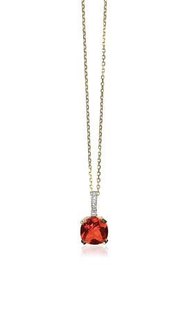 diamond necklace: Red Ruby Gemstone diamond necklace with chain isolated on white