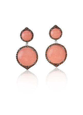 dangle: Ruby Red dangle drop gemstone earrings isolated on white Stock Photo
