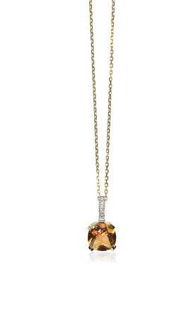 diamond necklace: Yellow Diamond Citrine Topaz pendant necklace isolated on white