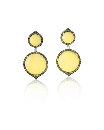 amber coloured: Yellow gold and diamond fashion earrings with gemstone halo isolated on white