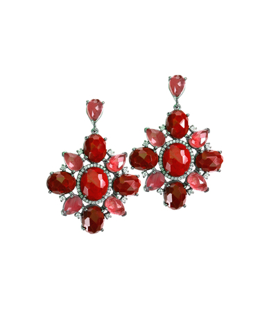 ruby red: Ruby Red dangle drop gemstone earrings isolated on white Stock Photo