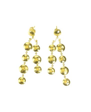 dangle: Gold dangle earrings isolated on white