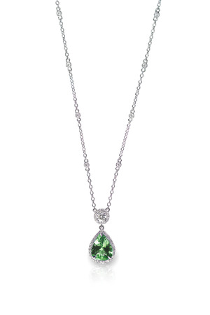 Green Gemstone Pendant Necklace isolated on white