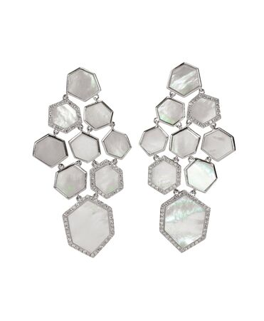 dangle: Mother of pearl drop fashion earrings isolated on white