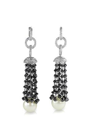 Black fringe tassel beaded pearl and diamond Art Deco earrings