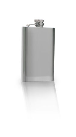 alchoholic drink: Silver Flask Isolated on white Stock Photo