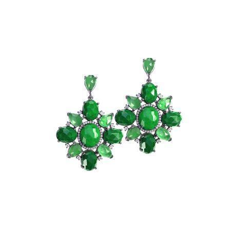 Emerald Green Peridot lub kolczyki z jadeitu