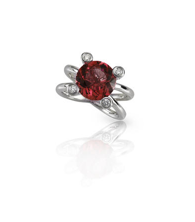 ruby stone: Ruby Center Stone Ring isolated on white