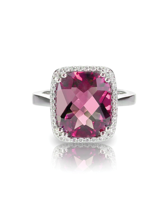 gems: Pink tourmaline cushion cut halo ring isolated on white Stock Photo