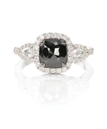 black diamond onyx fashion engagement wedding ring isolated on white