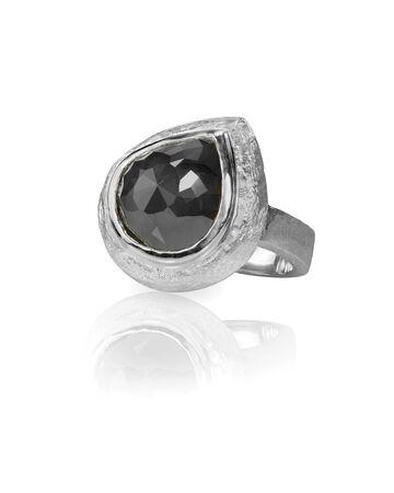 black onyx: black diamond onyx fashion engagement wedding ring isolated on white