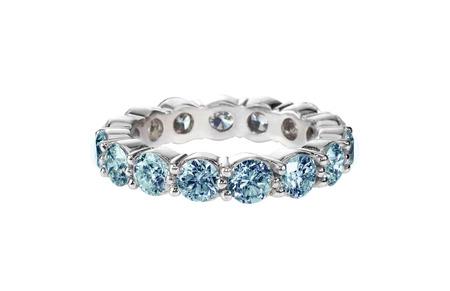 wedding band: Blue diamond anniversary wedding band ring isolated on white