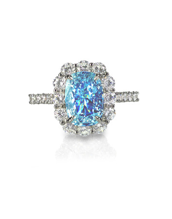 zircon: Blue Diamond engagment wedding ring colored diamond stone isolated on white