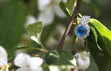 Blue topaz diamond engagement wedding ring nestled on a branch