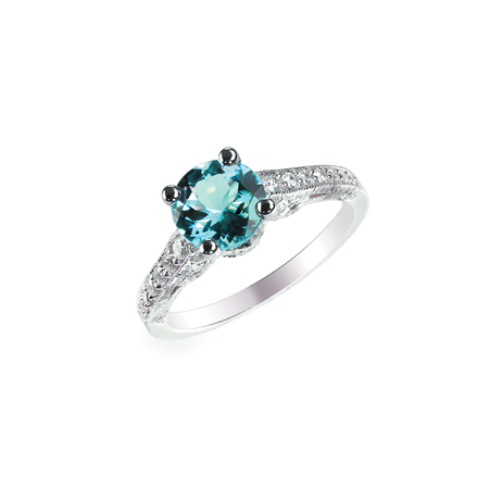 Blue Diamond engagment wedding ring colored diamond stone isolated on white