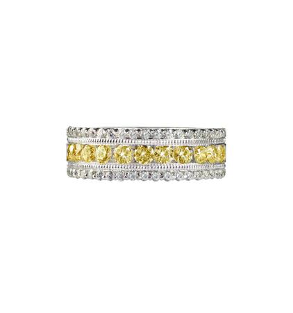 wedding band: canary yellow diamond wedding band citrine ring isolated on white Stock Photo