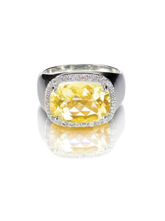 jewelry background: yellow diamond colored engagement ring topaz citrine