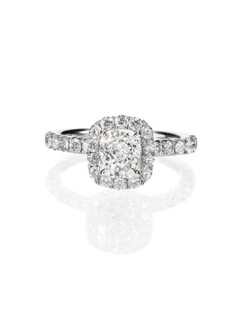 diamond ring: Diamond solitaire engagment wedding ring isolated on white Stock Photo