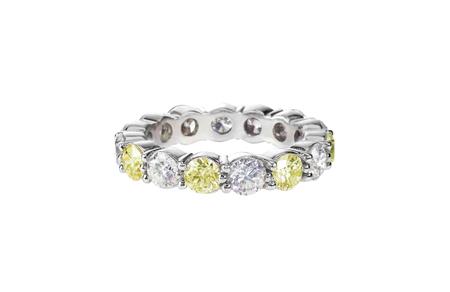 citrine: canary yellow diamond wedding band citrine ring isolated on white Stock Photo